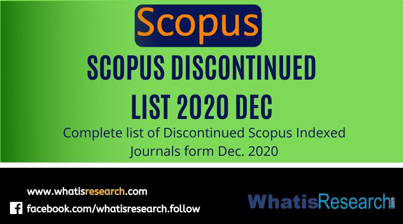Scopus discontinued list 2020 December