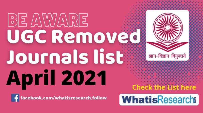UGC removed Journals list April 2021
