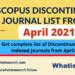Scopus discontinued list April 2021